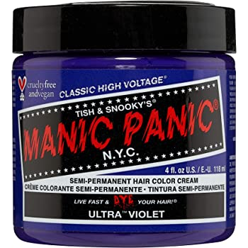 Manic Panic Ultra Violet Hair Dye – Classic High Voltage - Semi Permanent Hair Color - Cool, Blue Toned Violet Shade - Vegan, PPD & Ammonia-Free - For Coloring Hair on Women & Men