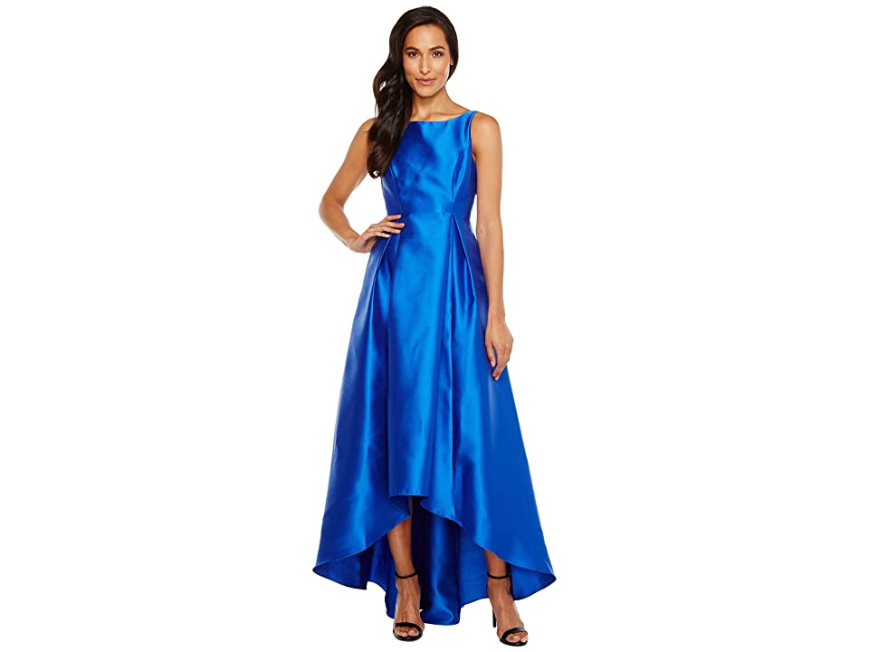 Adrianna Papell High-Low Halter Mikado Gown (Yves Blue) Women