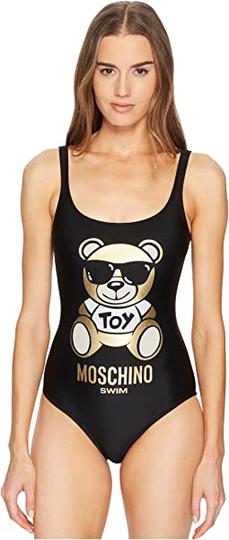 Gold Teddy Bear on Swimsuit