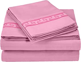 Superior Regal Greek Key Embroidered Sheets, Luxurious Silky Soft, Light Weight, Wrinkle Resistant Brushed Microfiber, California King Size 4-Piece Sheet Set, Pink