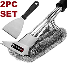 """ROMANTICIST 2pc Heavy Duty Grill Brush Set with 18"""" BBQ Brush and Grill Scraper - Best Mix and Match Grill Cleaning Kit for Flat Griddle Grill Grate - Ideal Grill Tools Gift for Men Women on Birthday"""