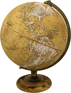 Replogle Morgan – Designer Series Globe, Old World Style Globe, Raised Relief, Charred Hardwood Base, Antique brass plated Semi-Meridian, Velvety texture ball (12
