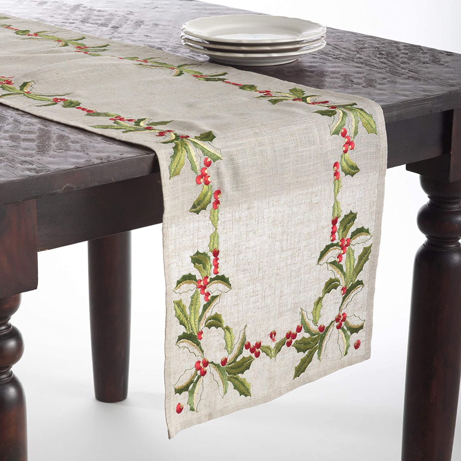 OFFer Ranking TOP17 SARO LIFESTYLE Holiday Collection Design Embroidered Holly Table
