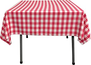 LA Linen Checkered Overlay Tablecloth, 58 by 58-Inch, Fuchsia