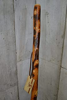 """Hickory Walking Stick and Hiking Staff - Up to 60"""" Tall - by Creation Carvings"""