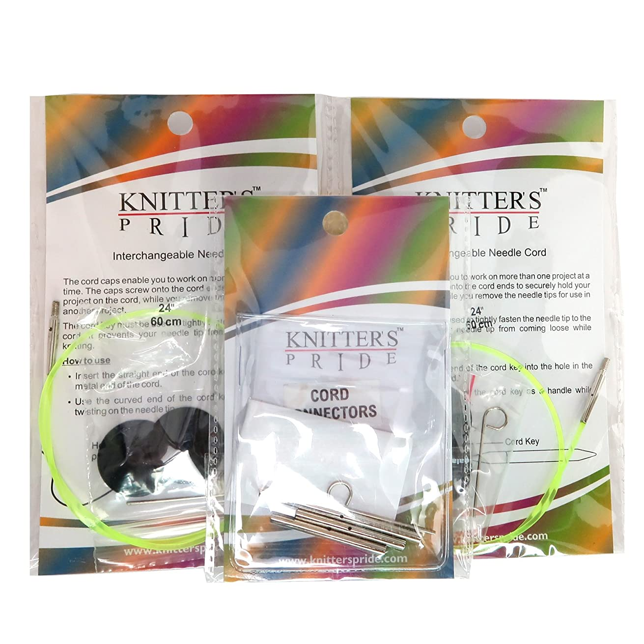 Knitters Pride Two Pack 24 Inch Neon Green Interchangeable Cords Plus Cord Connectors