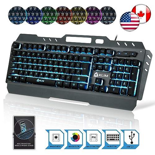 KLIM Lightning Gaming Keyboard - Semi Mechanical - Led 7 Colors Light Up, Metal Frame