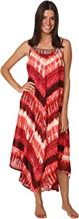 INGEAR Printed Tie Dye Square Neck Hem Dress Summer Beach Casual Dress Cover up