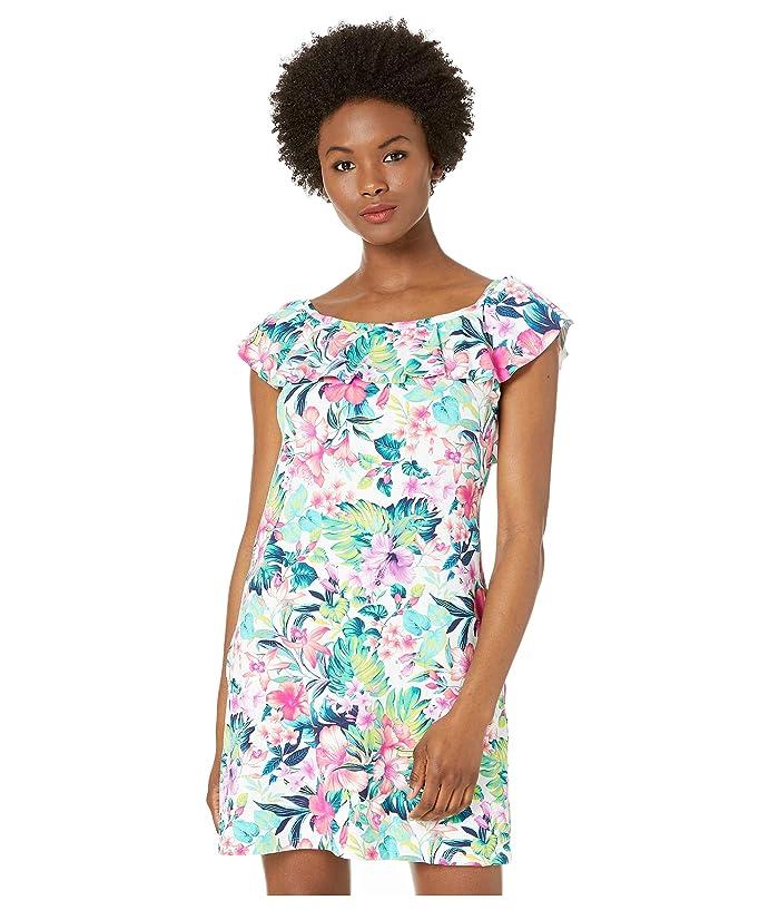 Tommy Bahama Fleur De Flora Over the Shoulder Spa Dress (White) Women