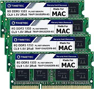 Timetec Hynix IC Apple DDR3 1333MHz PC3-10600 Non-ECC 1.5V CL9 2Rx8 Dual Rank 204 Pin SODIMM Laptop Notebook Computer Memo...