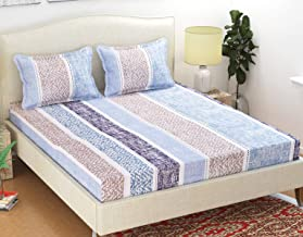 Homefab India 140 TC Poly Cotton Double Bed Sheet with 2 Pillow Cover - Modern, Blue