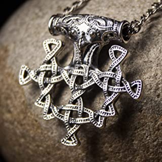 Large Sterling Silver Hiddensee Thors Hammer Pendant Necklace Mens Viking Cross Odins Mjolnir Pagan Norse Jewelry Gifts for Men Handmade Replica + Free Cord