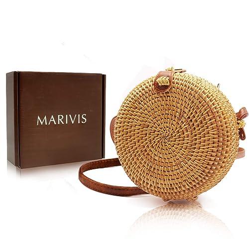 MARIVIS Round Straw Rattan Boho Bag for Women Purse Handmade Clutch Woven Handbag