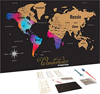 Scratch Off Map of The World Wall Poster with US States - Includes Complete Accessories Set Premium Wall Art Gift for Travelers - Black with Vibrant Colors