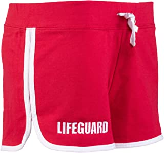 Lifeguard Girly Shorts | Red Women's Cute Lifeguarding French Terry Blend Bottom