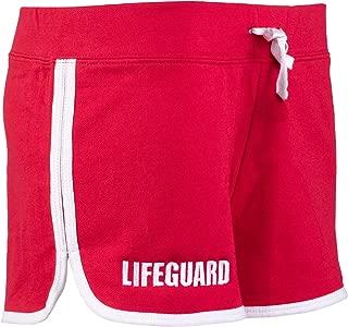 Lifeguard Girly Shorts | Red Women's Cute Lifeguarding French Terry Blend Bottom