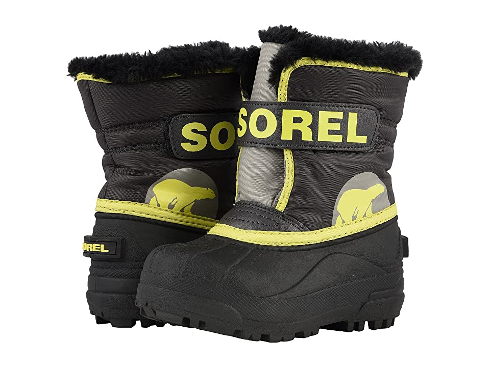 SOREL Kids Snow Commandertm (Toddler) (Dark Grey/Warning Yellow) Boys Shoes