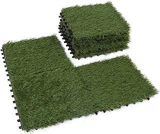 Golden Moon Artificial Interlocking Grass Deck Tiles Synthetic Grass Carpet Tiles Indoor Outdoor Artificial Grass Area Rugs Pile Height 1.5in 1'x1' (9 pieces)