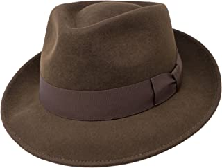 B&S Premium Doyle – Teardrop Fedora Hat – 100% Wool Felt – Perfect for Travelling – Water Resistant – Unisex