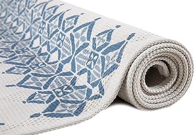 Vallila Soma 120x170 cm, Blue, Striped Cotton Rug, 170cm x 120cm