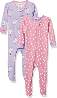 Gerber Baby Girls Organic 2 Pack Cotton Footed Pajamas