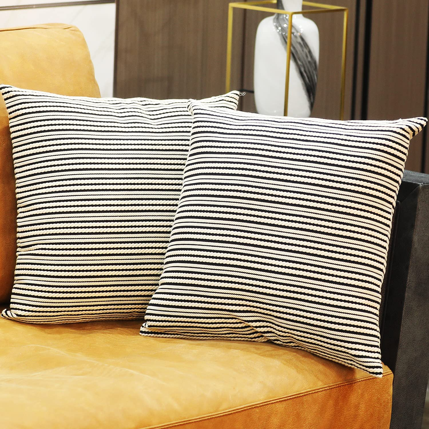 OFFicial mail order Animer and price revision ChuloPony Decorative Throw Pillow Covers Black Moder Stripes 3D