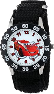 Disney Kids' W001034 Cars Stainless Steel Time Teacher Black Bezel Black Nylon Strap Watch