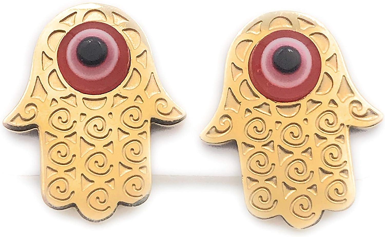 Gold Hamsa Evil Eye Earrings Stud Stainless Steel Gold Plated