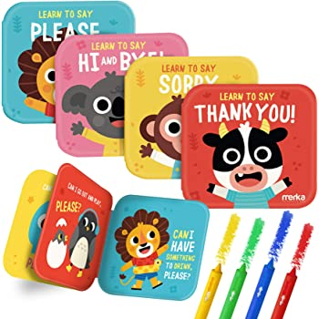 merka Bath Books Baby Bathtub Toys My First Book 4 Flotable Plastic Books Plus 4 Bath Crayons Thank You Sorry Hi Bye Please