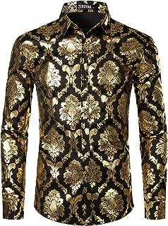 ZEROYAA Men's Luxury Shiny Gold Design Slim Fit Long Sleeve Button up Dress Shirts