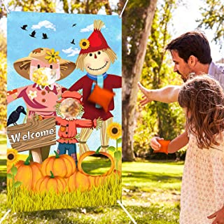 Scarecrow Bean Bag Toss Games with 3 Bean Bags Thanksgiving Toss Game Decoration Turkey Harvest Party Games for Children Family Autumn Give and Thanks Theme Scarecrow Party Favor Supplies (Orange Scar