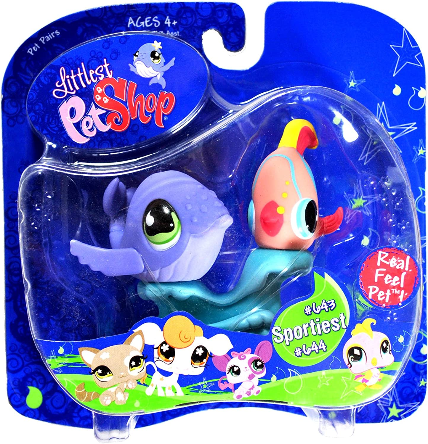 Littlest Pet Shop Purple Whale and Angel Fish   643 and 644