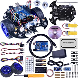 Longruner Robot Car Robot Kit with UNOR3 Line Tracking Module Ultrasonic Sensor DIY Starter Kit Robotics Educational Car Kits Toys for Kids with Tutorial Compatible with ArduinoIDE