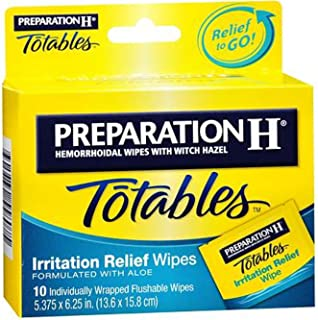 Preparation H Totables Irritation Relief Wipes 10 Each (Pack of 4)
