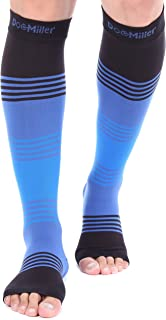 Doc Miller Premium Open Toe Compression Sleeve Dress Series 1 Pair 20-30mmHg Strong Support Graduated Sock Pressure Sports Running Recovery Shin Splints Varicose Veins (BlackBlueBlue, Large)