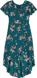 Amy Byer Girls' Big Short Sleeve High Low Surplice Dress