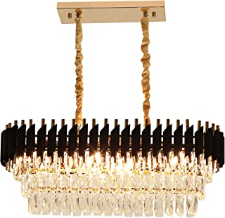 Rectangular Modern K9 Crystal Chandeliers Lighting - FINXIN FXCS02 Pendant Ceiling Lights Rectangle Chandelier Lamp Fixture 8-Lights for Dining Room Kitchen (8-Light)