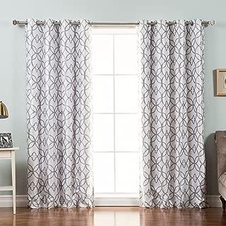 Best Home Fashion Reverse Trellis Print Faux Silk Blackout Curtain – Stainless Steel Nickel Grommet Top - Grey - 52