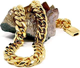 عقد سلسلة كوبية من الذهب عيار 24 قيراط من هوليوود جوليري للجنسين والمراهقين عرض 16 ملم حقيقية مطلية بالذهب عيار 24 قيراط. ...