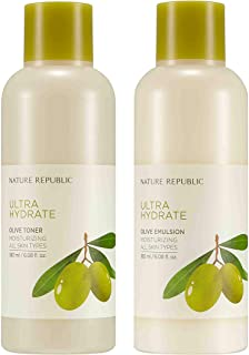 Nature Republic Toner Emulsion Set with Olive Leaf Extracts - Home Skin Care Moisturizer Set with Real Egyptian Olive 10,0...
