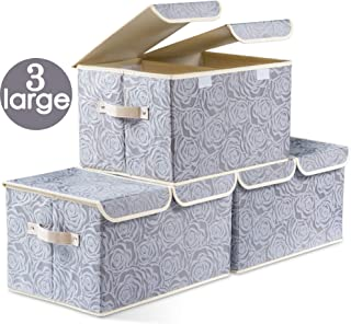 Prandom Large Foldable Storage Bins with Lids Fabric Decorative Storage Box Cubes Organizer Containers Baskets with Cover Handles Removable Divider for Home Bedroom Closet 17.3x11.8x9.8 Inch 3 Pack