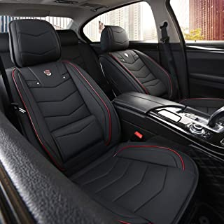INCH EMPIRE Car Seat Cover-Water Proof Leatherette Cushion with Built-in Lumbar Support Front and Back Universal Fit for Sedan SUV Truck Hatchback Durable Use(Black with Red Trim Full Set)