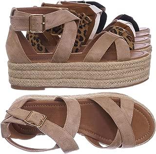 Bonnibel Wrapped Espadrille Jute Flatform, Strappy Sandal. Women's Summer Shoes