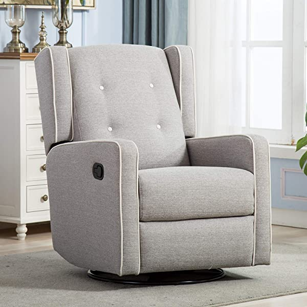 CANMOV Swivel Rocker Recliner Chair Manual Reclining Chair Single Seat Reclining Chair Gray