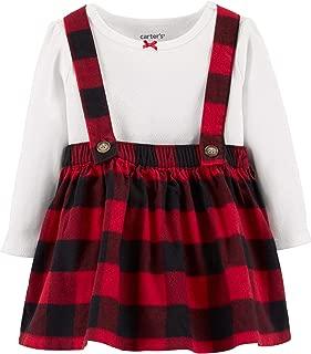 Carter's Baby Girls Buffalo Check Plaid Flannel Suspender Skirt Set