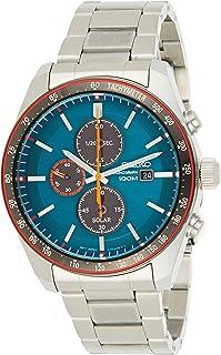 Men's 43.2mm Steel Bracelet & Case Hardlex Crystal Solar Blue Dial Analog Watch SSC717P1