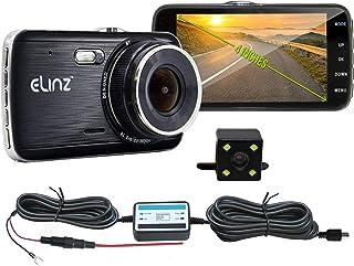 "Elinz 4"" Dash Cam Dual Camera Reversing Recorder Car DVR Video 170 Degree Full High Definition 1296P 4.0 LCD Parking Wire ..."