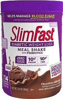 Slimfast Diabetic Weight Loss, Chocolate Milkshake Mix -10g of Protein - 12.8oz