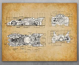 Poster - 1989 Batmobile - Choose Unframed Poster or Canvas - Great Man Cave Decor or Gift for Comics and Batman Fans