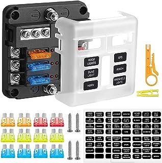 Rovtop 6 Voies Boîte à Fusibles,Fusible de Voiture,Circuit Indépendant,Indicateur LED,Pour les Voitures,les Véhicules Tou...